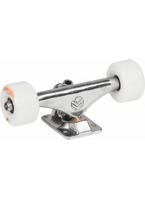 "Mini Logo 8.0"" Rough Polished Trucks + ML Bearings + A-cut 53mm x 101a White Wheels"