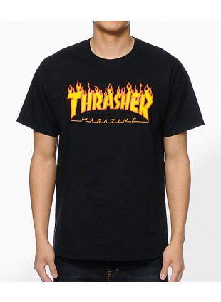 Triko Thrasher Flame Logo black